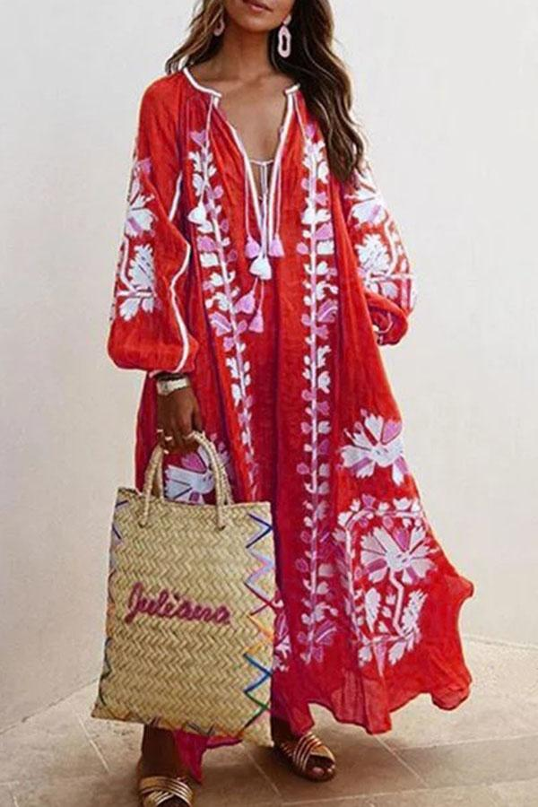 Floral Print Plunging Neck Holiday Maxi Dress
