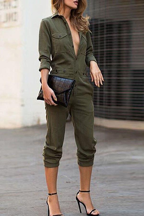 Solid Buttoned Shirt Collar Casual Jumpsuit