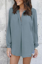 Casual V-neck Long Sleeves Chiffon Blouse