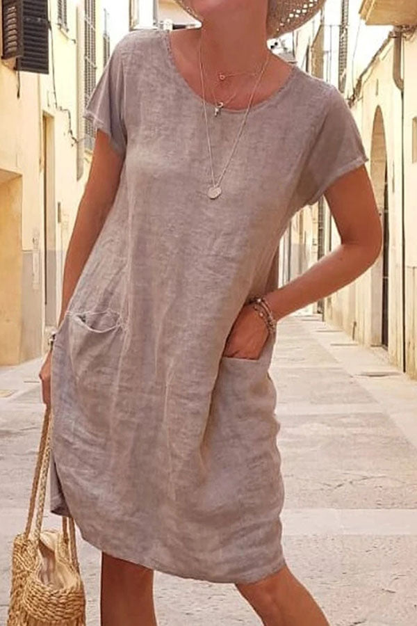 Casual Solid Round Short Sleeves Loose Midi Dress