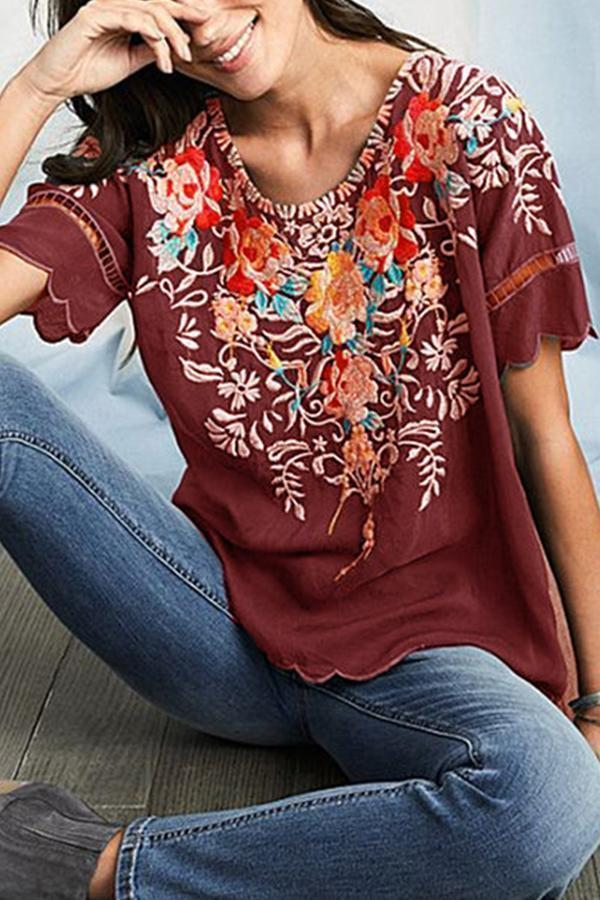 Embroidery Boho Vintage Floral T-shirts