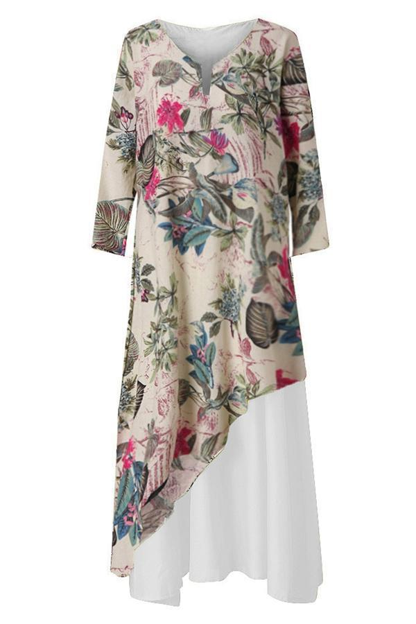 Floral Fake Two Piece Pockets Irregular Maxi Dress