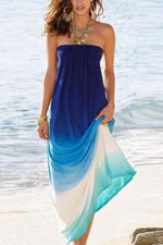 Gradient Print Strapless Holiday Maxi Dress