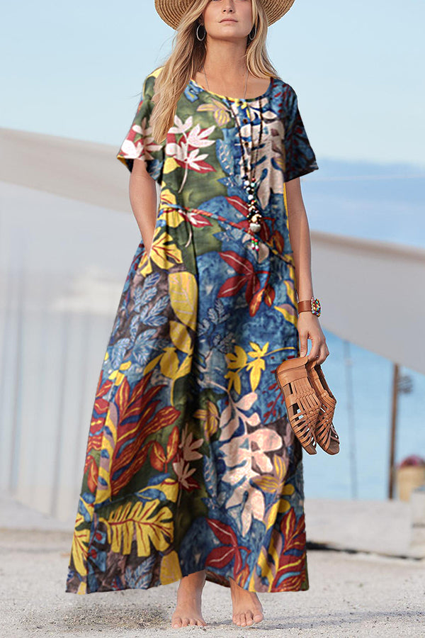 Vintage Casual Print Round Maxi Dress