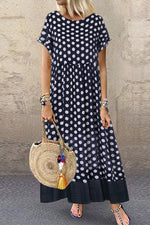 Casual Wave Point Round Fake Two Pieces Maxi Dress