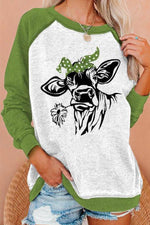 Lifelike Cow Biting A Daisy Print Women Raglan Sleeves Color-block Casual Sweatshirt