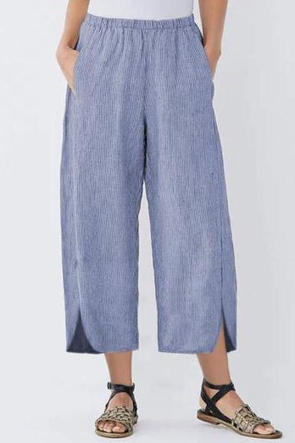 Striped Casual Linen Pockets Slit Pants