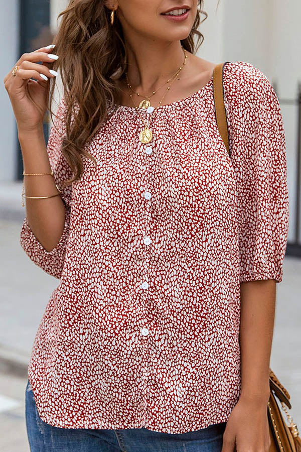 Buttons Down Print Paneled Half Sleeves Casual Blouse