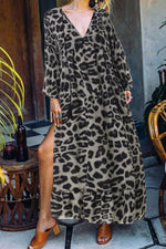 Casual Leopard Print V Neck  Maxi Dress