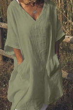 Linen V-neck Pocket Design Casual Loose Dress