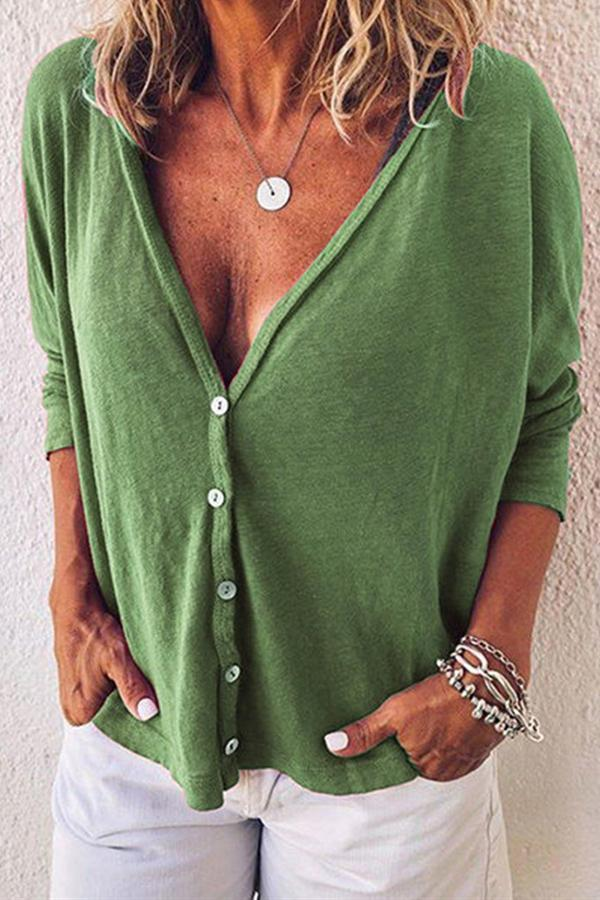 Deep V Neck Button Long Sleeves T-shirt