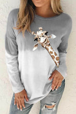 Cartoon Giraffe Print Gradient Casual Paneled T-shirt