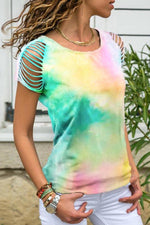 Colorful Gradient Cutout Paneled Casual T-shirt
