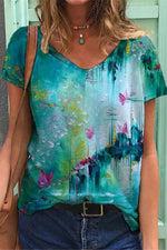 Literary Butterfly Floral Gradient Print V Neck Shift T-shirt