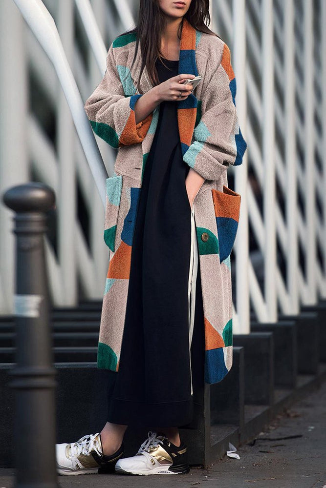 Color Block Single Breasted Longline Coat