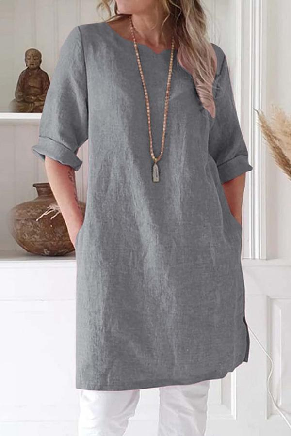 Casual Solid Half Sleeve Side Pockets Dress