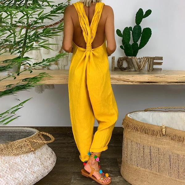 Solid Twist Backless Linen Jumpsuit