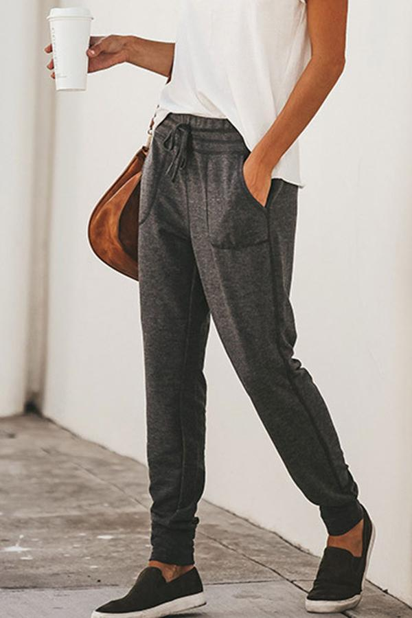 Seitentaschen Self-Tie Casual Solid Pants