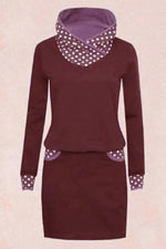 Paneled Polka Dots Pockets Mini Dress