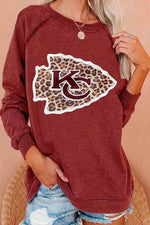 Fish Shape Leopard KC Letter Print Raglan Sleeves Women Casual Sweatshirt