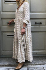 Bohemian Floral Print V-neck Casual Maxi Dress