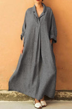 Solid Long Sleeve Shirt Collar Linen Maxi Dress