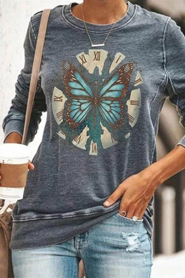 Butterfly Clock Print Casual Paneled Crew Neck T-shirt