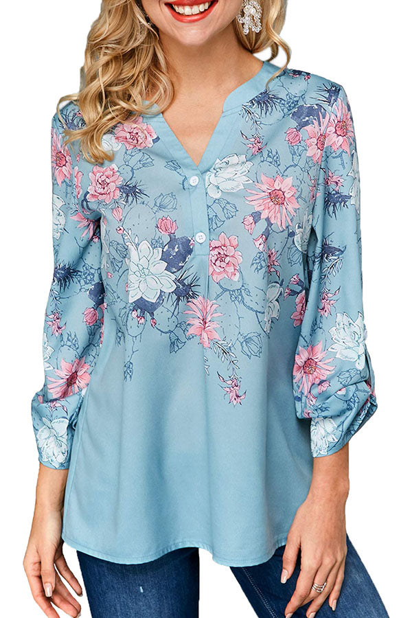Casual Print V Neck Long Sleeves Shirt