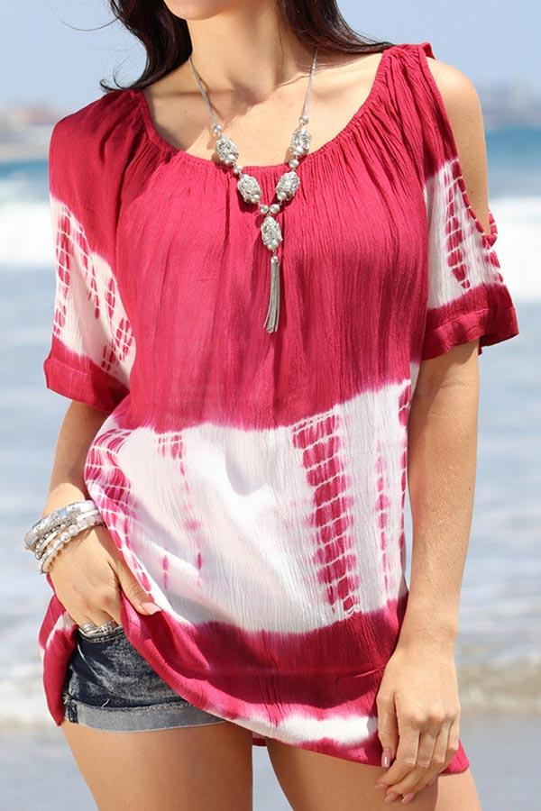 Gradient Print Cold Shoulder Pleated Casual Blouse
