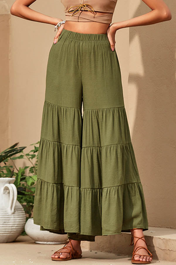 Holiday Solid Paneled Plissee Elastic Wide Leg Hose