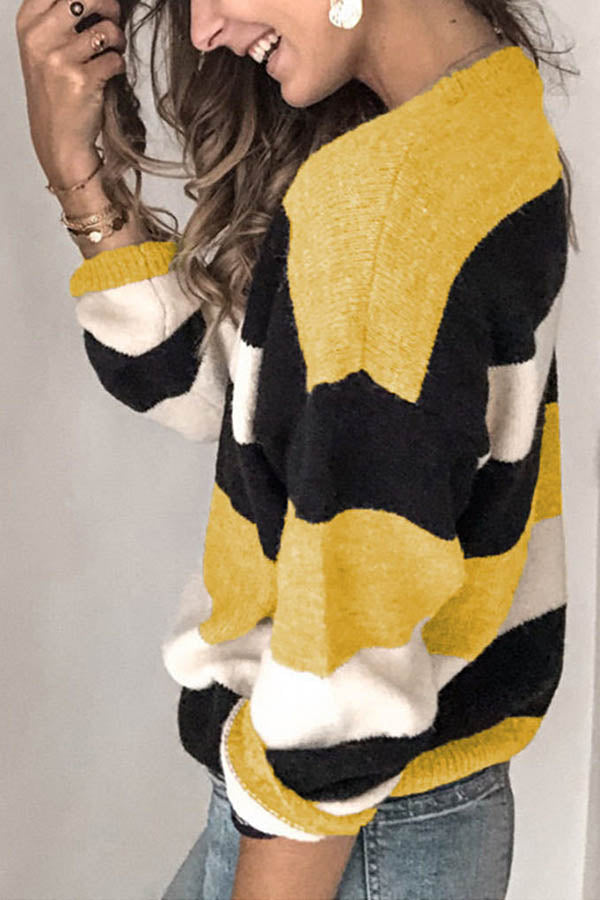 Knitted Color-block Striped Jacquard Casual Ribbed Sweater