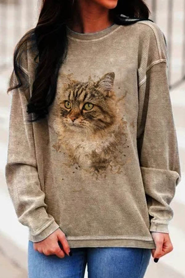 Street Casual Lifelike Cat Print Paneled Crew Neck Sweatshirt