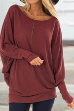 Scoop Neck Long Sleeves Casual Blouses
