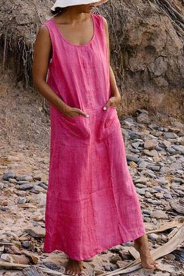 Solid Casual Sleeveless Round Neck Maxi  Dress