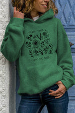 Floral With Different Kinds Plant These Save The Bees Letter Print Hoodie