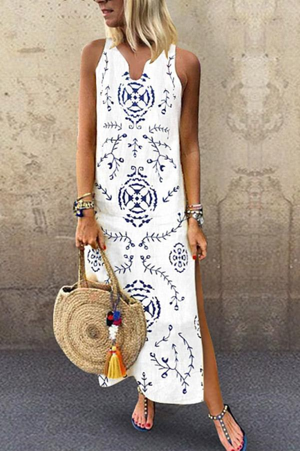Floral Print Sleeveless Slit Maxi Dress