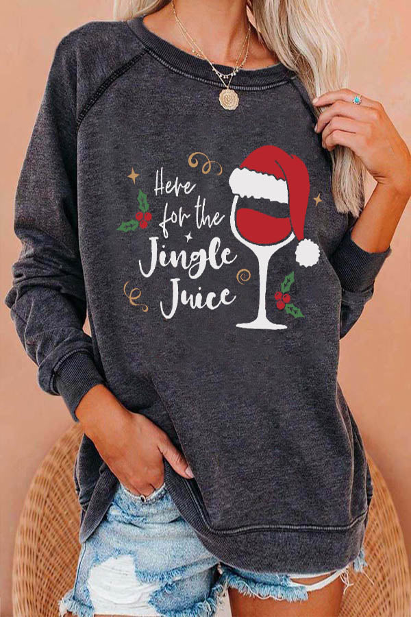 Here For The Jingle Juice Letter Wine Glass With Christmas Hat Print Raglan Sleeves T-shirt