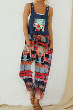 Vintage Abstract Print Paneled Pockets Sleeveless Jumpsuit