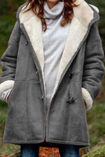Paneled Pockets Horn Buckle Fleece Hooded Coat