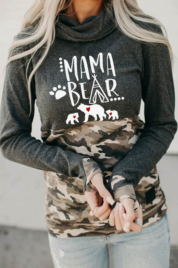 Mama Bear Letter Three Bear Paw With Camouflage Print Pile Neck Casual Sweatshirt
