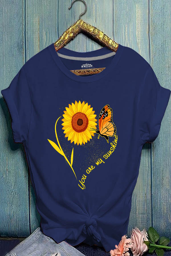 Sunflower Print Paneled Short Sleeves Casual Crew Neck T-shirt