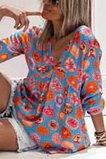 Holiday Floral Print Paneled V-neck Long Sleeves Blouse