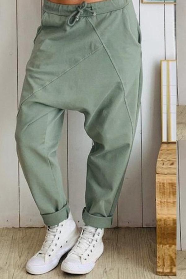 Paneled Solid Drawstring Side Pockets Harem Pants