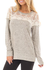 Paneled Floral Lace Cutout Casual T-shirt