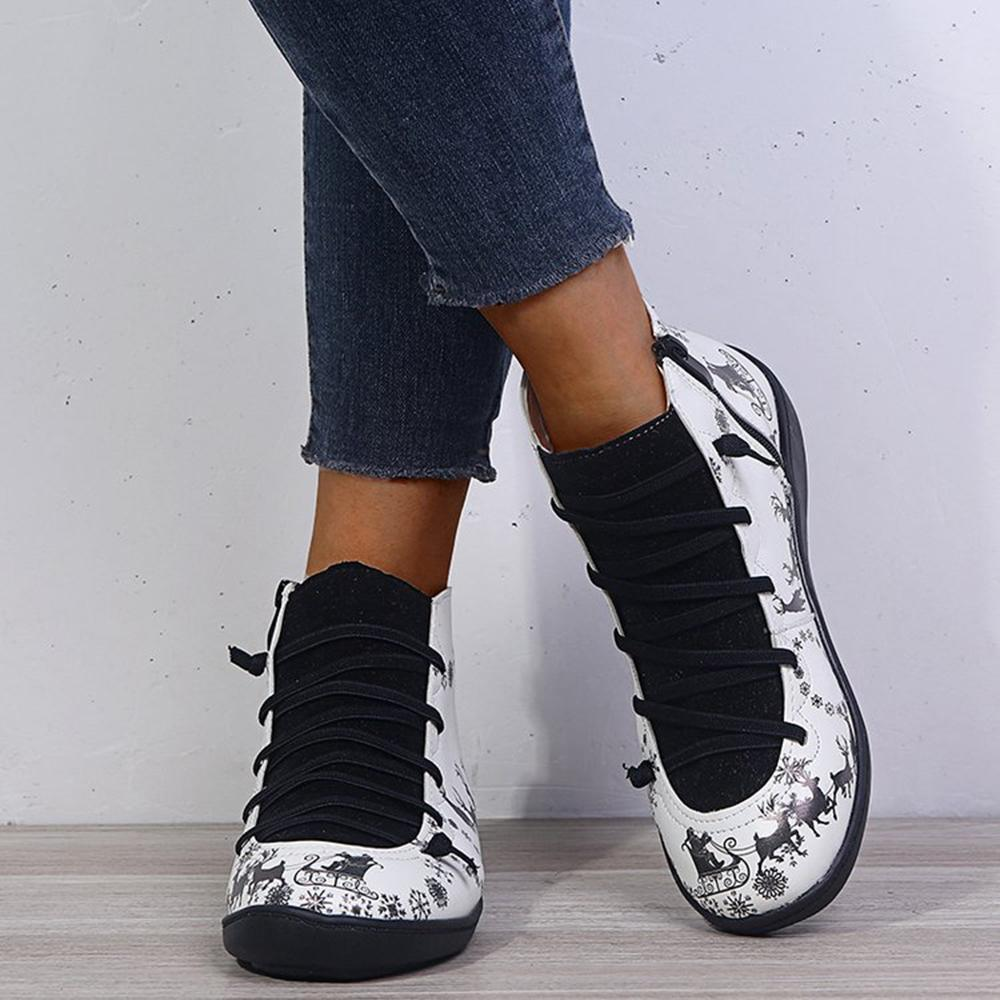 Christmas Print Lace Up Color-block Casual Boots