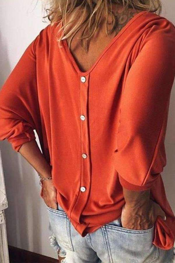 V-neck 3/4 Sleeves Button Blouse