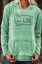 Love Letter Print Paneled Side Pocket Casual Fitness Hoodie