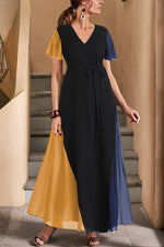Colorblock Casual V Neck Short Sleeves Maxi Dress