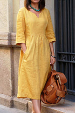 Casual  V- neck 3/4 Sleeves Midi Dress