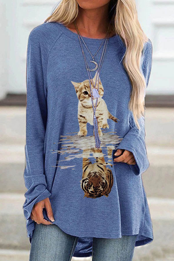 Cartoon Cat Tiger Reflection Print Casual T-shirt